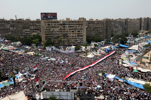 Morsi's supporters in Rabaa Aladawiya