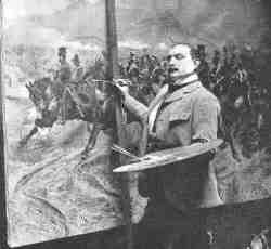 Photograph of Woodville painting Charge of the Light Brigade